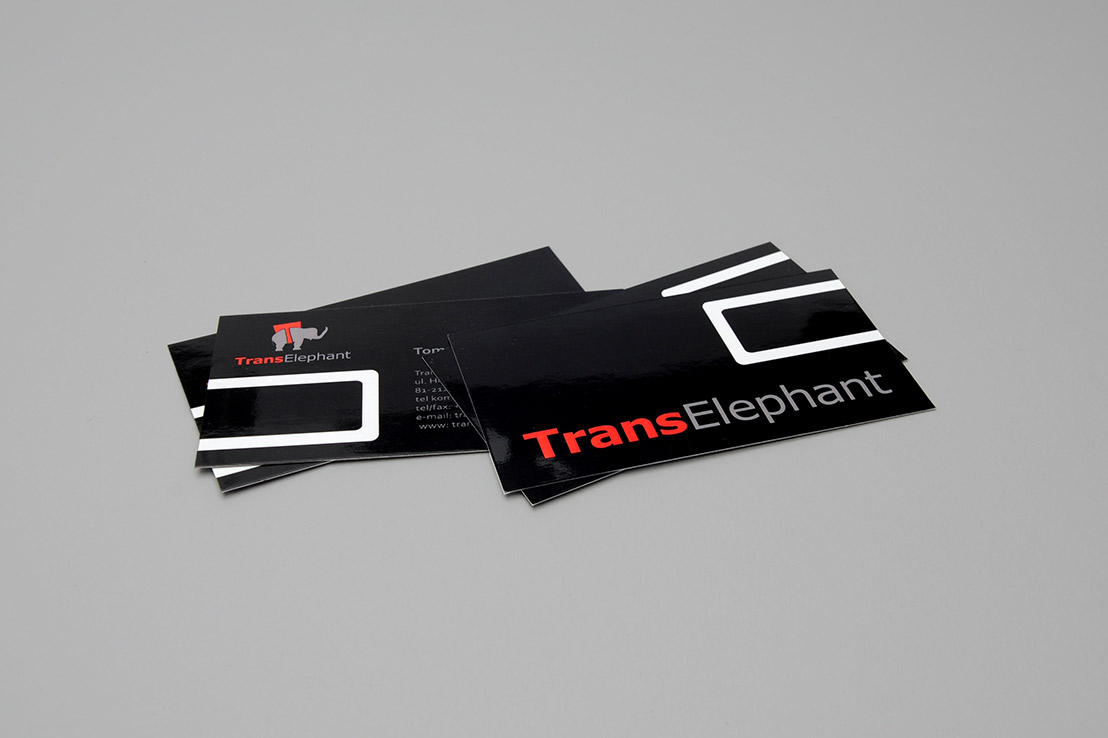 karty wizytowe wizytówki dla firmy transelephant transport spedycja