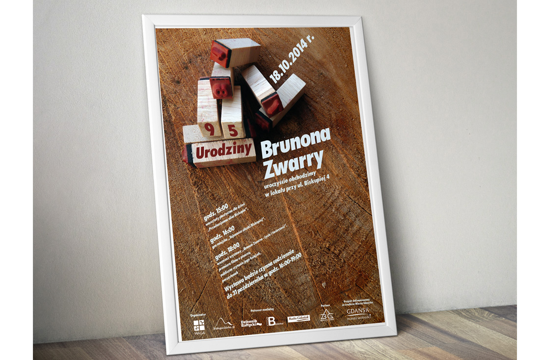Plakat - 95 urodziny Brunona Zwarry , 2014 r.