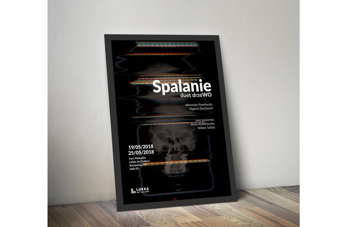Plakat-wystawa-spalanie-Noc-Muzeów-duetu-drzeWO-Lukka-Art-Gallery-Warszawa-Poster-design
